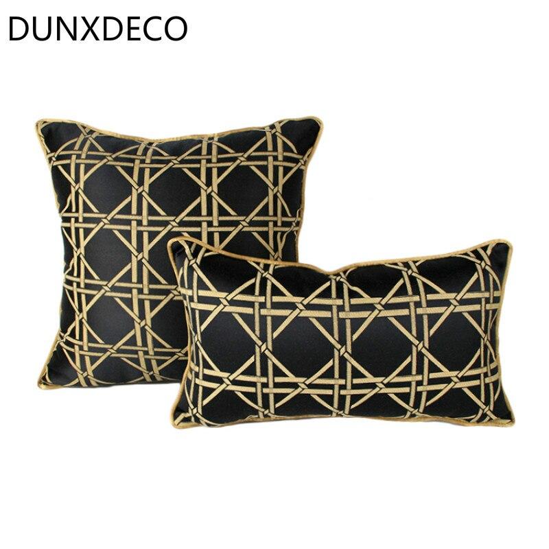 dunxdeco cushion cover decorative pillow case luxury black gold geometric modern gorgeous jacquard coussin home sofa decor