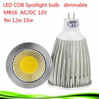 50X Siêu Sáng Lampada LED Spotlight MR16 12 V COB 9 W 12 W 15 W LED Bóng Đèn Đèn WarmCool trắng DẪN Chiếu Sáng