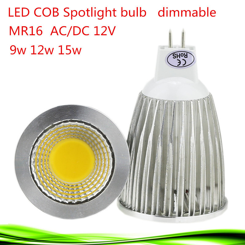 50X Super Bright Lampada LED Spotlight MR16 12V COB 9W 12W 15W LED Bulb Lamp WarmCool White LED Lighting