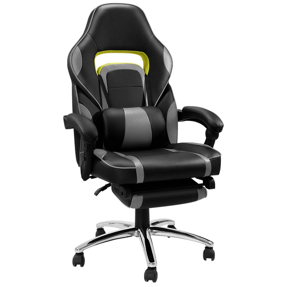 Brilliant Us 82 49 25 Off Langria Adjustable Office Chair Ergonomic High Back Faux Leather Racing Style Reclining Computer Gaming Executive Paddedfootrest In Spiritservingveterans Wood Chair Design Ideas Spiritservingveteransorg