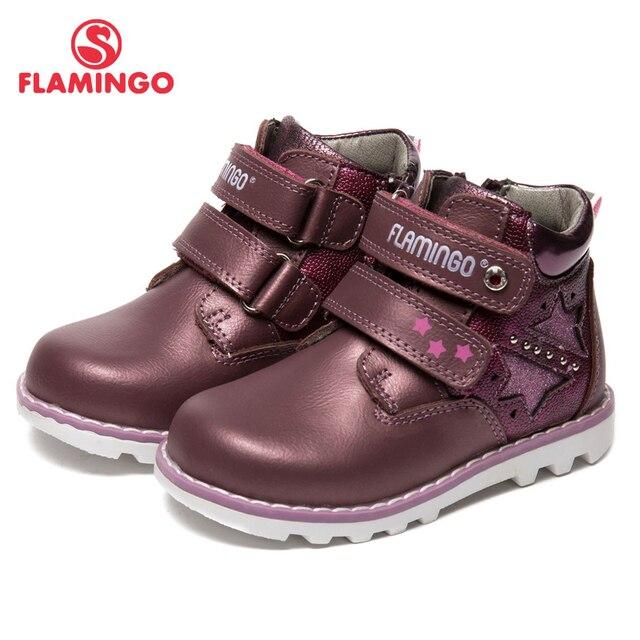 Осенне-зимние теплые ботинки с изображением фламинго, высокое качество, нескользящая детская обувь на липучке для девочек, бесплатная доставка, 82B-XY-1002