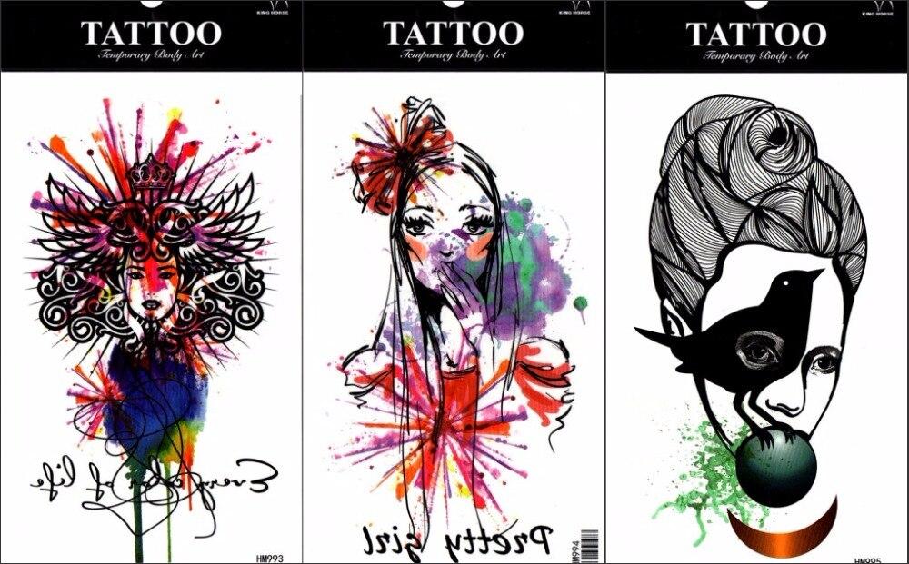 ᗗ3 Unids Birds Mujeres Flor Tatuaje Temporal Pintura Arte Abstracto