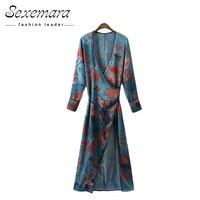 Autumn Vintage Blouse Floral Print Open Loose Sashes Belt Kimono Cardigan 2017 New Elegant Women Long