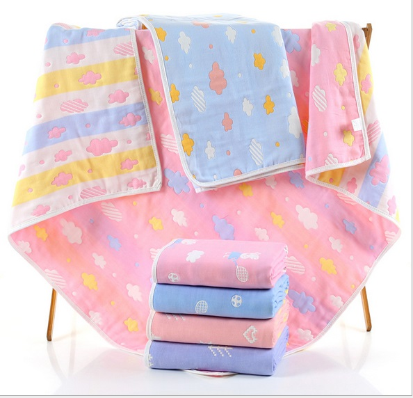 Children Cotton Muslin 6 layers Gauze Blankets Newborn Baby Bedding Infant Soft Gauze Bath Towel Kids Boys Girls Play Mat Wrap