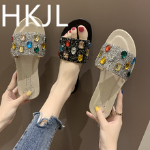 HKJL Fashionable female outside wear 2019 new fund slipper to go out beach cool procrastinate han edition thick bottom A370