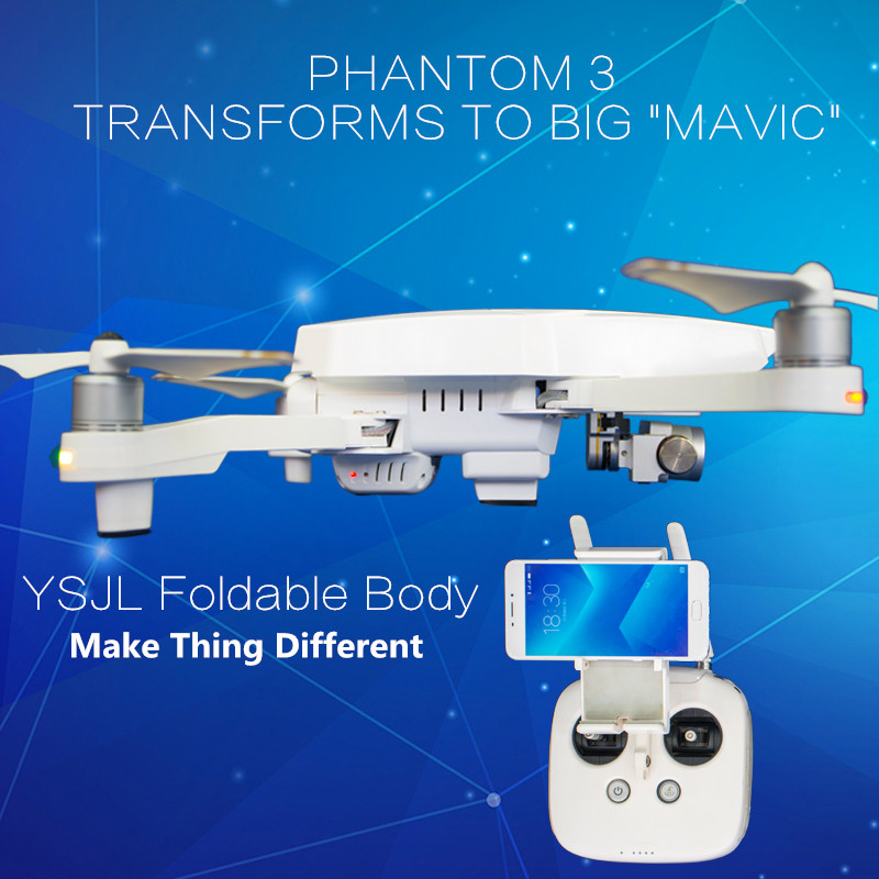 DJI Phantom 3 Standard Transforms To Foldable Drone Like Big Mavic DJI Phantom 3S Folding Drone Body Shell Case Protective Cover