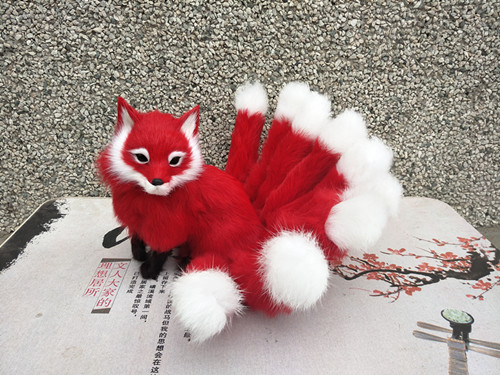 new simulation red fox model plastic&fur sitting fox doll gift 35x18cm a169 big sitting simulation white cat model plastic