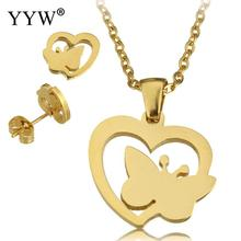 YYW New Punk Stainless Steel Jewelry Necklace Wedding Bridal Gold-color Lovely Heart Animal Butterfly Pendant Necklaces Women