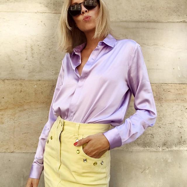 ccdb7c310a031 2018 Purple Blouse Women Long Sleeve Fashion Vintage Casual Silk Shirts  Tops Female Button Down Chemise Satin Autumn Blouse
