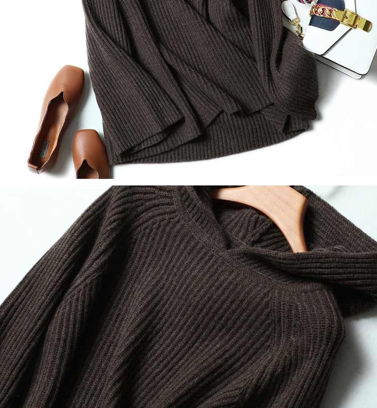 100% Pure Cashmere Hooded Sweater Women Pullover Autumn Winter Knitwear Ladies Thick Warm Loose Womens Jumpers 18 8