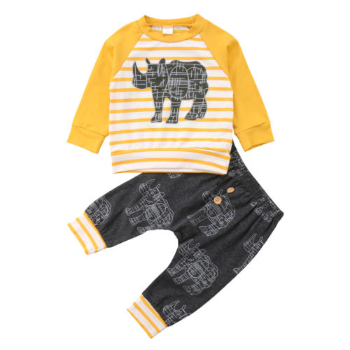 Toddler Baby Boys Hot Clothing Set Fashion New Long Sleeve Rhinoceros Animal Print Top Harem Pants Holiday Casual Outfits Sets ynynoo new 32 32 dots not easy to break dots small blocks base plate building blocks diy baseplate compatible major brand blocks
