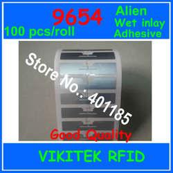 الغريبة authoried 100 قطعة لكل لفة 9654 لاصق UHF RFID الرطب البطانة 860-960 MHZ Higgs3 EPC C1G2 ISO18000-6C تستخدم ل RFID علامة التسمية