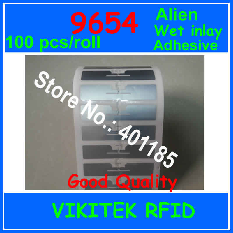 Alien authoried 100pcs per roll 9654 adhesive UHF RFID wet inlay 860-960MHZ Higgs3 EPC C1G2 ISO18000-6C used for RFID tag labelAlien authoried 100pcs per roll 9654 adhesive UHF RFID wet inlay 860-960MHZ Higgs3 EPC C1G2 ISO18000-6C used for RFID tag label