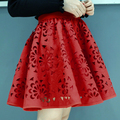 2016 summer new style sexy fashion skirt womens hollow-out fluffy skirt swing skirt ladies Black/White/Red Mini Skirts