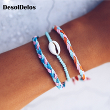 3PCS Boho Shell Handmade String Bracelet Knotted Woven Friendship Bracelets for Women Macrame Set Beach Jewelry