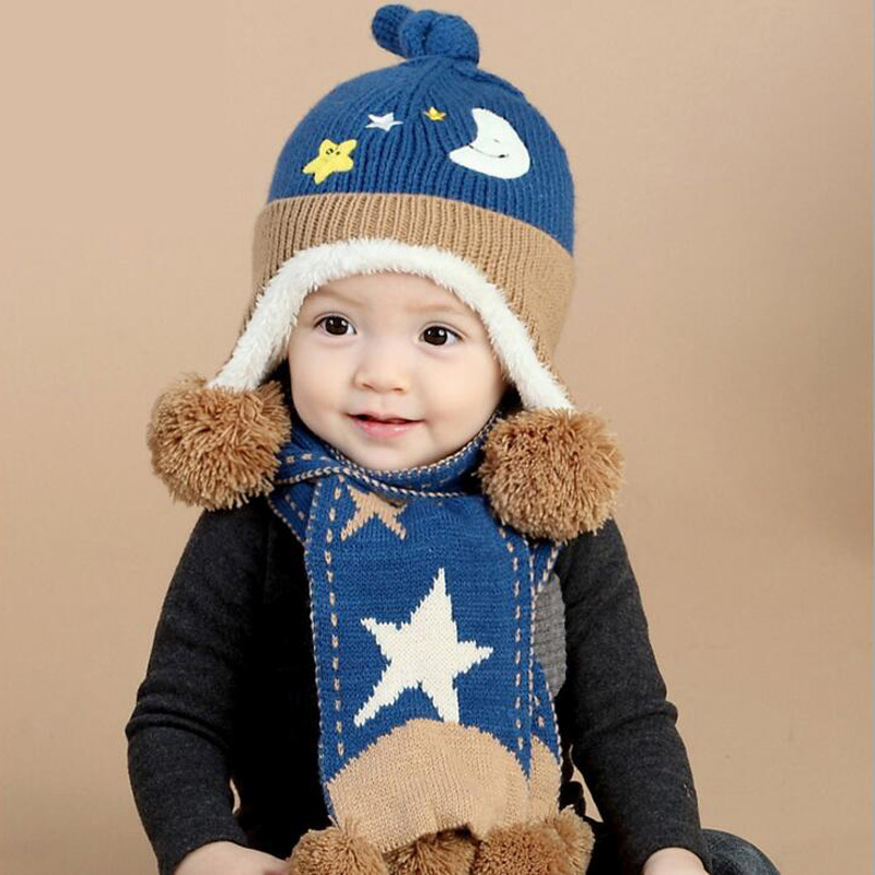 Child Winter Acrylic Hats & Scarf Baby Cartoon Moon And Stars Knitted Cap Keep Warm scar ...