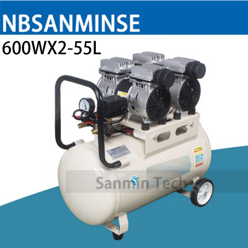 600WX2 - 55L Mini Air Compressor Oilless High Pressure Mute Design Wood Working Home Application AC220V High Quality Sanmin high quality 600w ots 600 8l air compressor pump