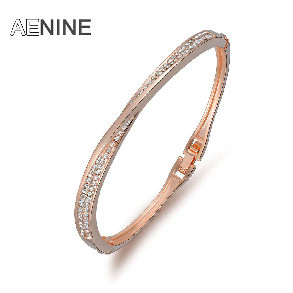 AENINE Trendy Rose Gold Color Chain & Link Bracelets Pave Setting Rhinestone Bangles Bracelet For Women Jewelry Gifts