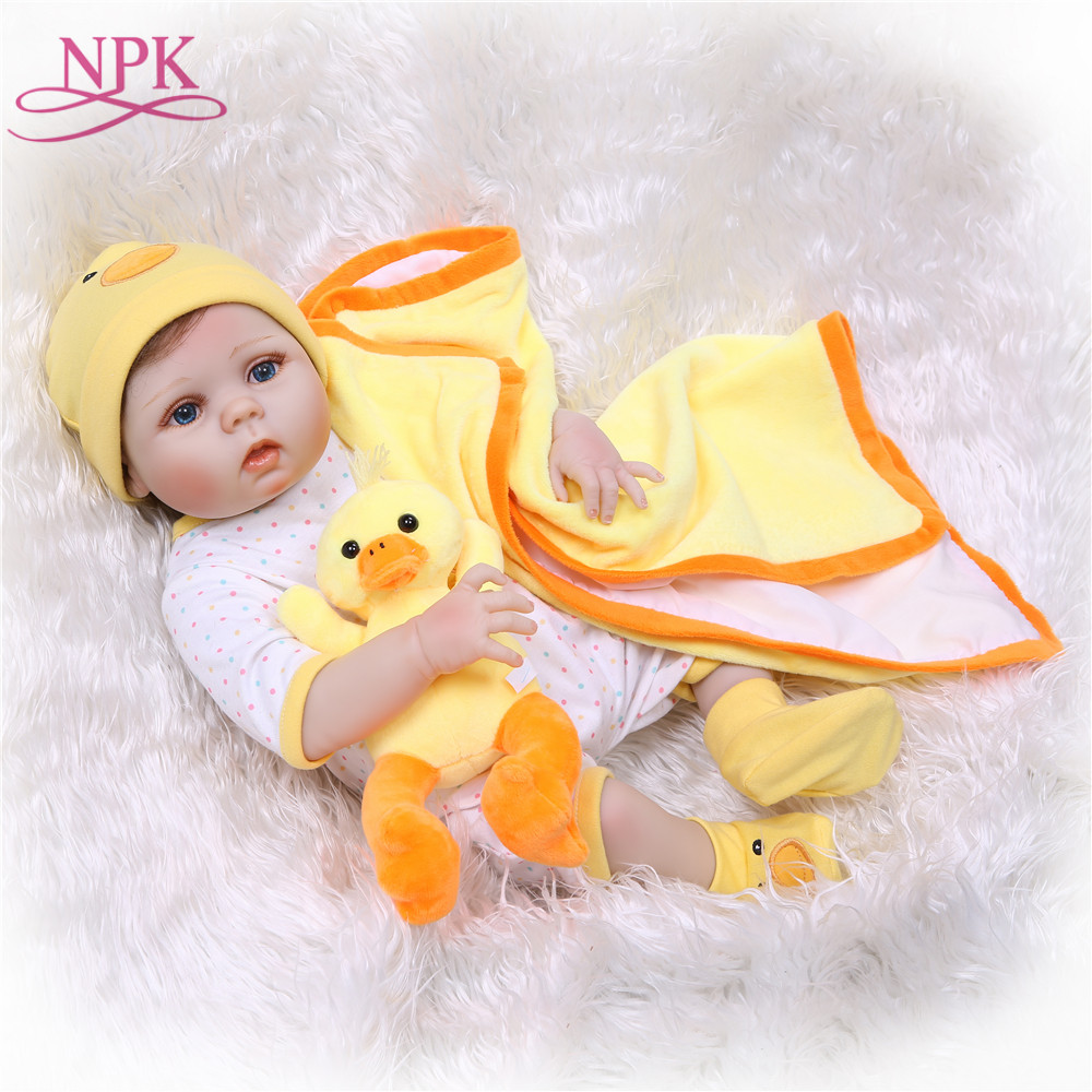 NPK Handmade Full Silicone Vinyl Adorable Lifelike toddler Baby Bonecas Girl Kid Bebe doll 55CM Toys