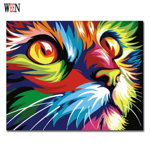 Modern Living Room Canvas Art Pc Gaming Tv Colorful Cat Abstract Diy Digital Painting By Numbers ...