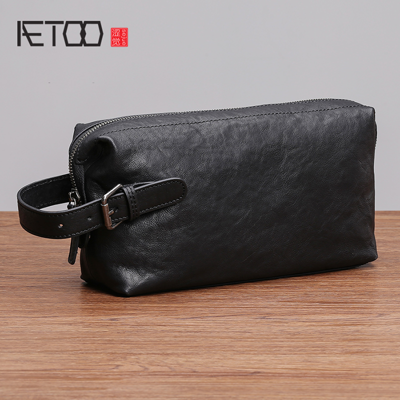 AETOO Handbag mens leather trendy fashion business casual mobile phone pack large capacity mens cowhide handbagAETOO Handbag mens leather trendy fashion business casual mobile phone pack large capacity mens cowhide handbag