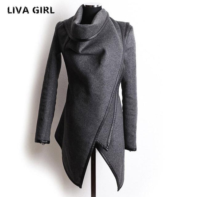Новый осенний-зимний тренч, пальто Для женщин нерегулярные воротник с лацканами боковой молнии шерстяное пальто Для женщин свободный свитер верхняя одежда плюс Размеры