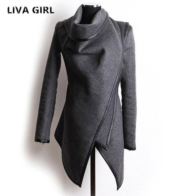 Nueva Otoño Invierno Trench Coat Mujeres de Cuello Irregular Cremallera Lateral Solapa Abrigo de Lana de Las Mujeres Outwear Suéter Flojo Más El Tamaño