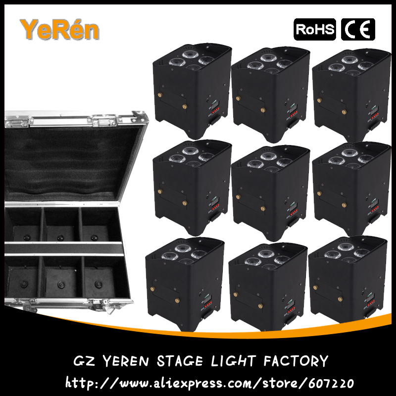 9 pacote Bateria DMX Sem Fio Alimentado LED Par Luz RGBWA + UV Luzes de Cor Led Wash Luz DJ Uplights 6in1 IRC recmote controle