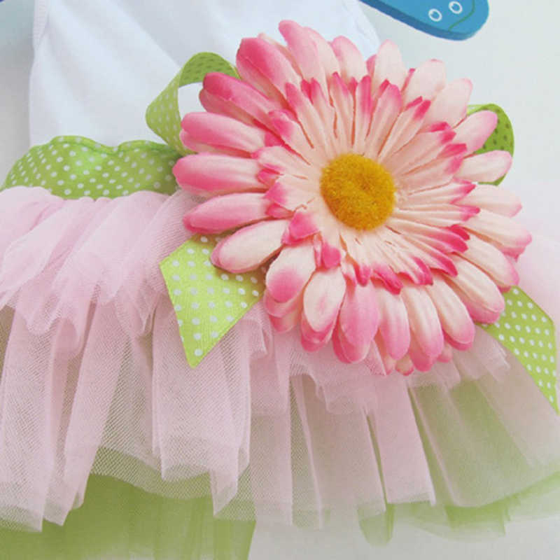 Moda de la flor de perro vestido con tutú de gasa falda de mascota perro gato princesa ropa Bowknot vestido disfraz de perro # T2