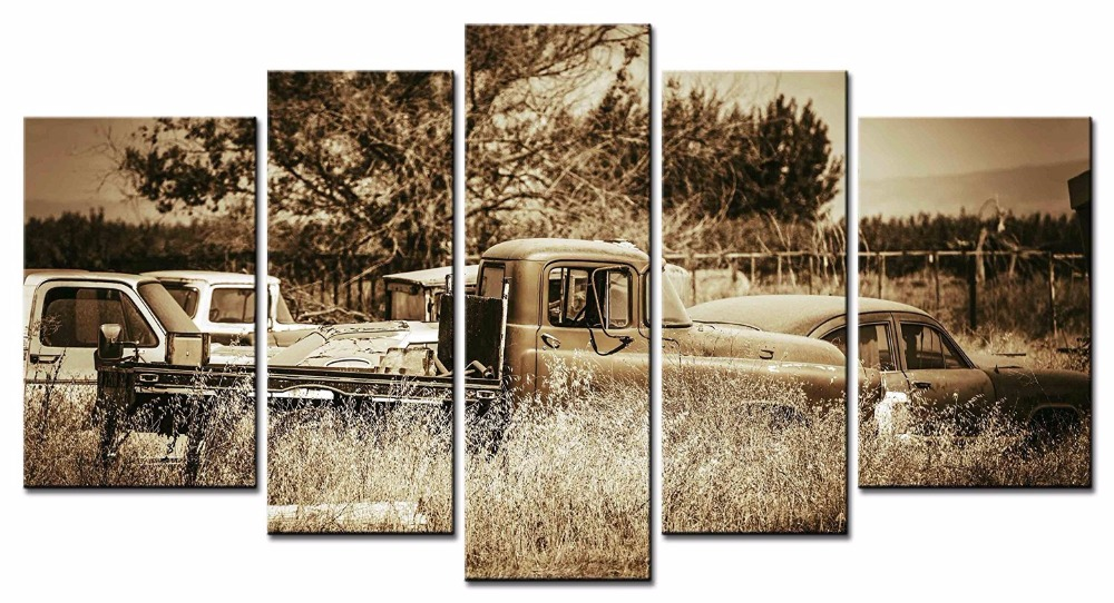 5pcsset framed canvas wall art picture vintage car canvas print modern wall paintings top