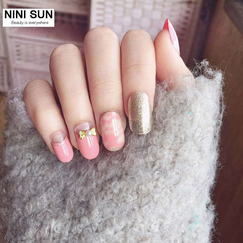 2019 New Fashion 24Pcs Pink 3D Oval False Nails Acrylic Nail Art ...