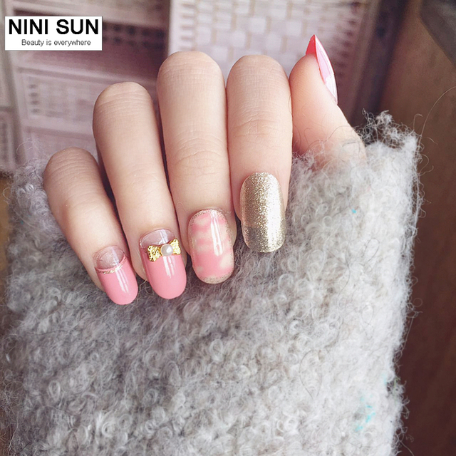 2019 new fashion 24pcs pink 3d oval false nails acrylic nail art 2019 new fashion 24pcs pink 3d oval false nails acrylic nail art tips glitter smooth style prinsesfo Image collections
