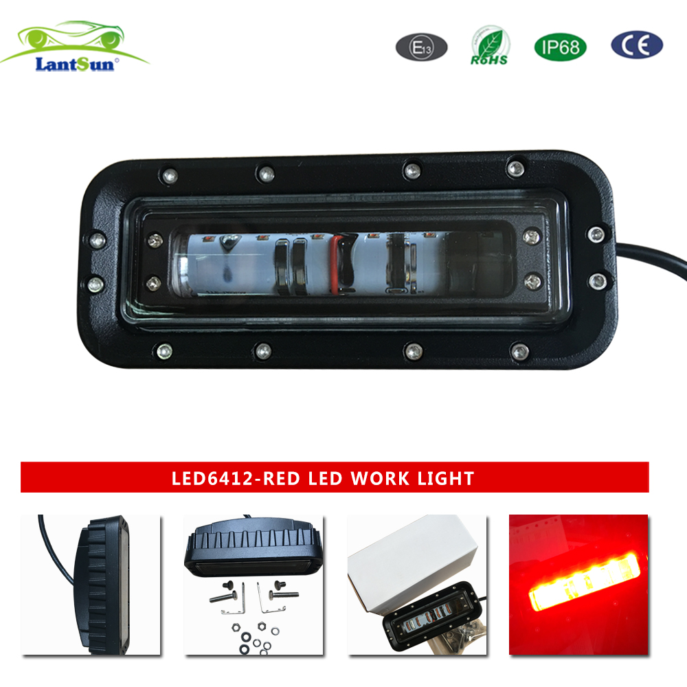 1 PC LED6412 DC10-80V 12w 6inch RED LED forklift safety Light Emergency Warning lamp for Forklift, heavy-duty machine