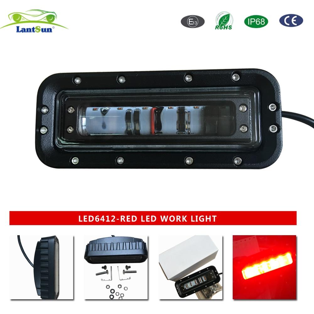 Lantsun 1 PC LED6412 DC10-80V 12w 6inch RED LED forklift safety Light Emergency Warning lamp for Forklift, heavy-duty machine