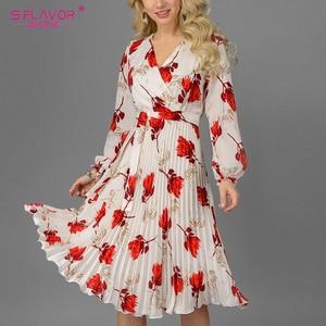 Image 5 - S. Lezzet Vintage v yaka baskı evaze elbise zarif uzun kollu bahar sonbahar elbise kadın rahat kadın pilili elbise