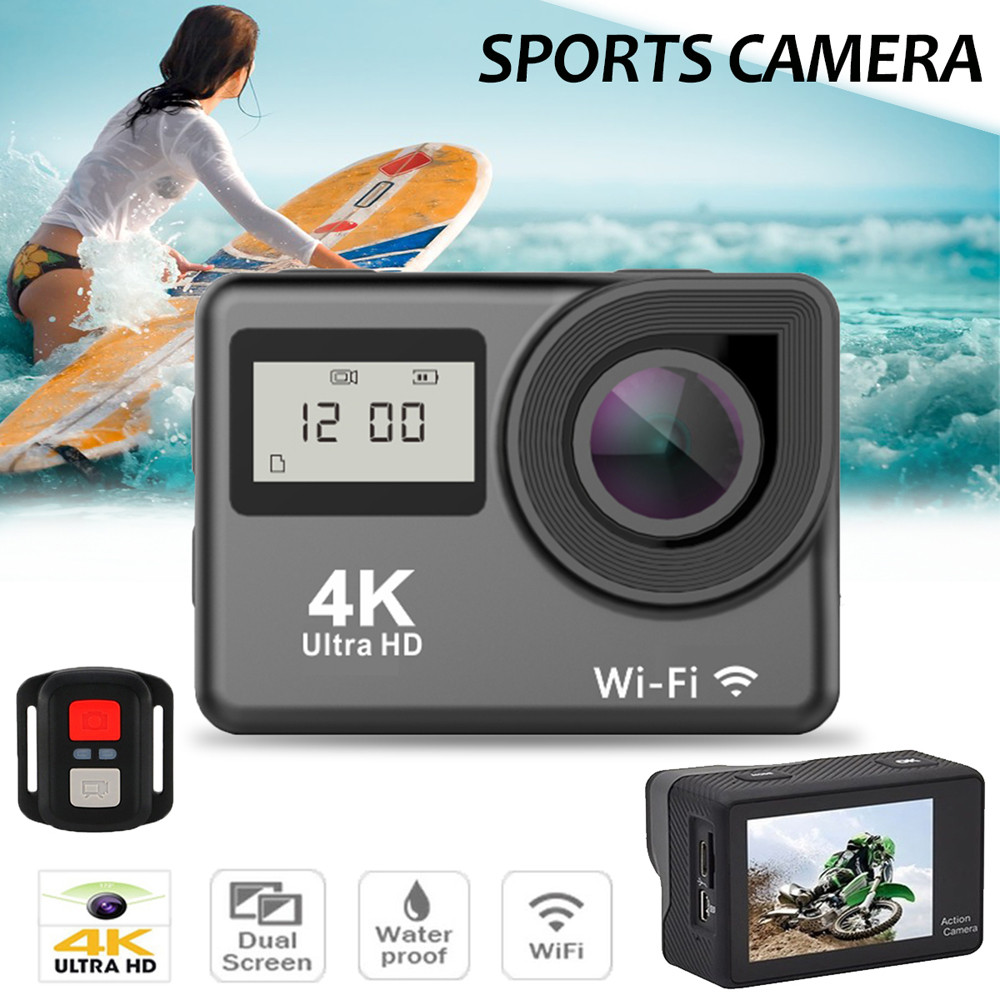 2018 Wifi HD 1080P Sports Action Camera Waterproof 4K Dual Screen Touch-screen DVR Cam Camcorder Jn.18 ...