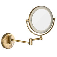 GURUN LED Lighted Vanity Wall Makeup Mirror with 7X Magnification, Antique Bronze Polished, Electrical plug, 360 Rotated Mirrors