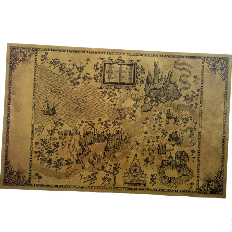 51*32.5cm Classic Poster Vintage Retro Paper Craft Map Of The Wizarding World Of Around The Big Paper Poster Movie