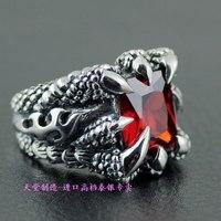 925 Серебряный Рыцарь личность Природный циркон Дракон коготь Кольца Панк Винтаж серебро кольцо мужской моды кольцо
