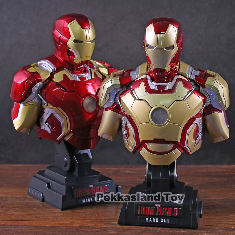 Anime <font><b>1/4</b></font> <font><b>Scale</b></font> Painted <font><b>Figure</b></font> Iron Man Bust Lightable Action <font><b>Figure</b></font> Light Ver. MK43/MK42 PVC <font><b>figure</b></font> Toy image