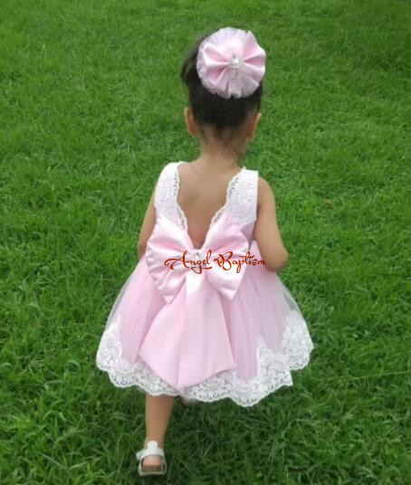 Ball gown puffy V-back knee-length pink short flower girl dresses crystals bow baby 1 year birthday party outfit with headpiece vintage emerald green backless flower girl dress with golden sequins knee length short baby 1 year birthday gowns with big bow
