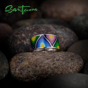 Image 4 - Santuzza Zilveren Ringen Voor Vrouwen Lord Of The Ring Handgemaakte Kleurrijke Enamel Ring Pure 925 Sterling Silver Party Mode sieraden