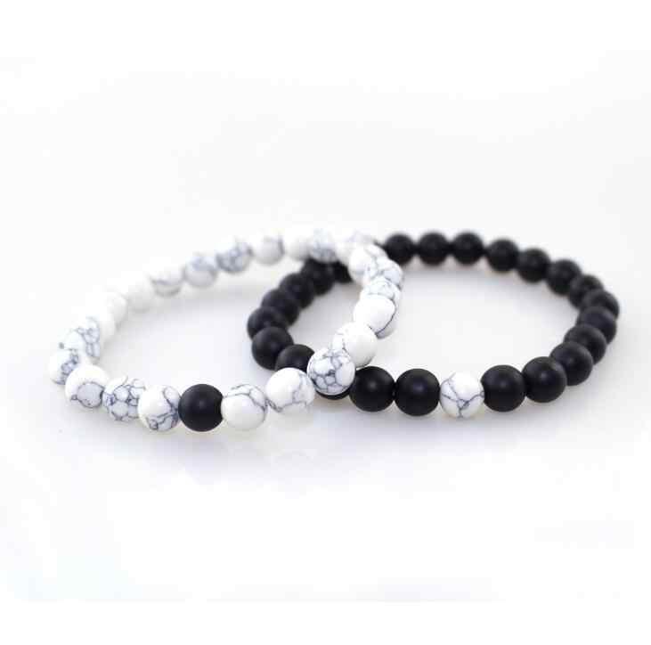 2Pcs/Set Couples Distance Bracelet Classic Natural Stone White and Black Yin Yang Beaded Bracelets for Men Women Christmas gifts