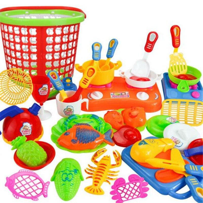35 pz in plastica per bambini giocattoli e giochi pretend gioca bambini utensili da cucina cottura