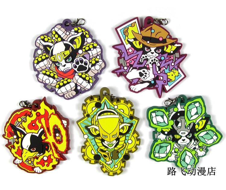 JOJO'S BIZARRE ADVENTURE Original Japanese Anime Figure Rubber Mobile Phone Charms Keychain Strap D213