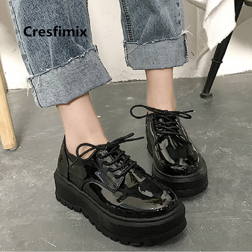 Cresfimix Zapatos De Mujer Teenager Cool Pu Leather Anti Skid Flat Platform Shoes Women Fashion Height Increased Shoes A3513