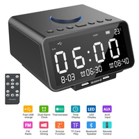 EAAGD LED Alarm Clock FM Radio,with Wireless Bluetooth Speaker Player,USB Fast Charge Port, TF Card Play,Indoor Temperature