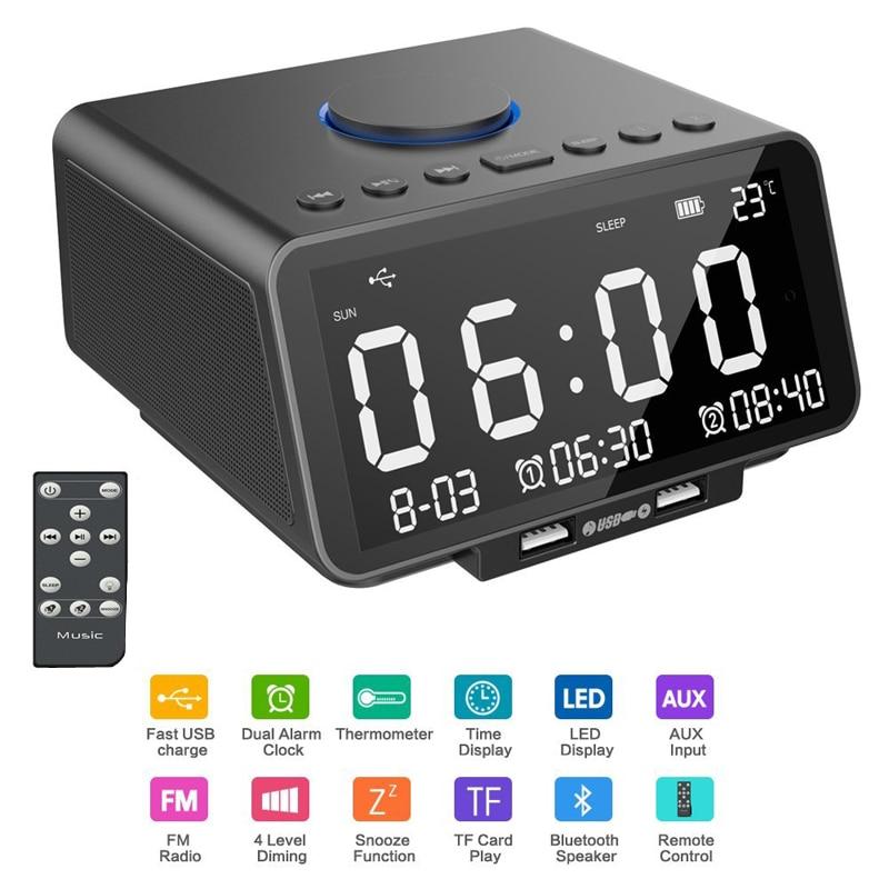 EAAGD LED D'alarme Horloge FM Radio, avec Sans Fil Bluetooth Haut-Parleur Lecteur, USB Charge Rapide Port, TF Carte Jouer, Température Intérieure