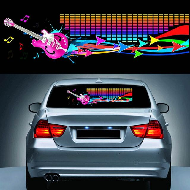 9025cm car music rhythm sticker equalizer led neon flash light decal cars automobile styling