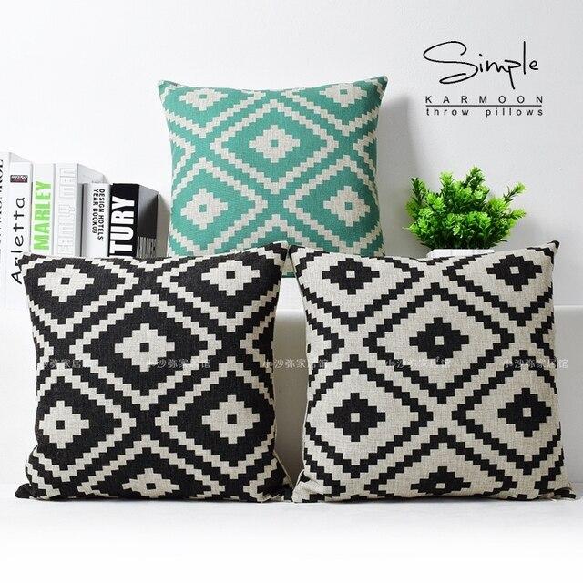Geometrische Kissen Bettwäsche Schwarz Weiß Grün Wurf Kissenbezug